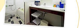 ポイント3 全室洗い場付バスは、トイレとセパレート。平均客室面積が35m²とエリアNo.1!コネクティングルームで最大8名様まで宿泊可能。