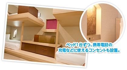ベッド1台ずつ、携帯電話の充電などに使えるコンセントも設備。